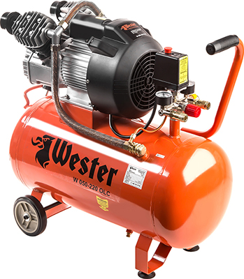 Компрессор WESTER W 050-220 OLC компрессор wester w 050 180 olc поршневой масляный 1800 вт 260л мин 8бар
