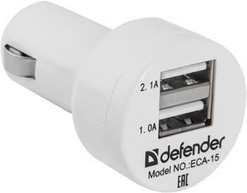 Автомобильное зарядное устройство Defender ECA-15 2 порта USB 83561 автомобильное зарядное устройство зарядное устройство usb несколько портов 2 usb порта 2 1 a 1 a dc 12v 24v