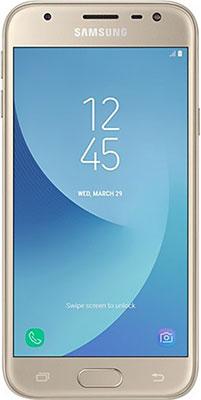Смартфон Samsung Galaxy J3 (2017) золотистый аксессуар чехол samsung j3 2017 j330f zibelino clear view black zcv sam j330 blk