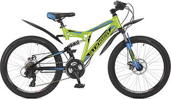 Велосипед Stinger 24'' Highlander 200 D 16 5'' зеленый 24 SFD.HILAND2D.16 GN7 велосипед stinger highlander d 26 рама 16 оранжевый