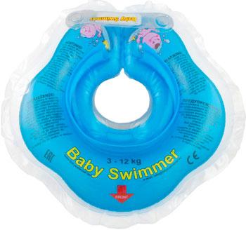 Надувной круг Baby Swimmer голубой (полуцвет) BS 02 B круг надувной baby swimmer розовый полуцвет 3 12 кг bs02p