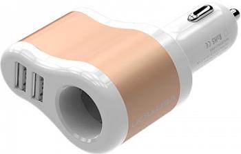 Адаптер питания автомобильный Vention 3.1A-2xUSB AF разветвитель универсальный адаптер питания для ноутбуков ginzzuga 10120u 120w 2xusb 12v 24v 9 dc in