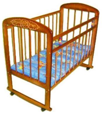 Детская кроватка Уренская мебельная фабрика Мишутка-8 колесо-качалка светлый с узором