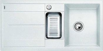Кухонная мойка BLANCO METRA 6 S-F белый с клапаном-автоматом кухонная мойка blanco metra 6 s f алюметаллик с клапаном автоматом