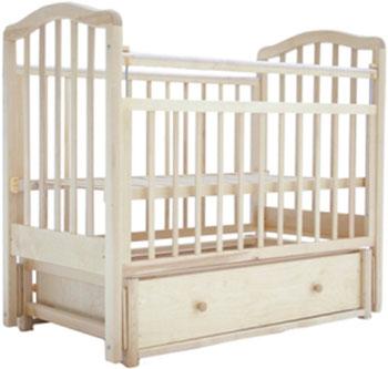 Детская кроватка Лаура 2 маятник продольный ящик натуральная берёза