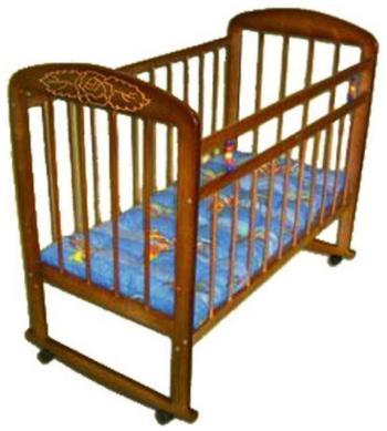 Детская кроватка Уренская мебельная фабрика Мишутка-8 колесо-качалка темный с узором