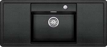 Кухонная мойка BLANCO ALAROS 6S (с белой доской) SILGRANIT антрацит с клапаном-автоматом InFino 523624 blanco enos 40s silgranit puradur антрацит