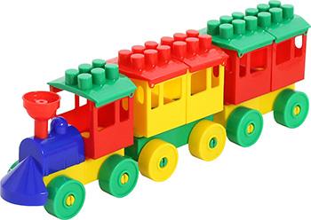 Конструктор Полесье Паровоз с двумя вагонами