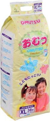 Трусики-подгузники OMUTSU XL (12-22 кг) 38 шт подгузники maneki fantasy xl 12 кг 48 шт