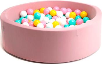 Бассейн сухой Hotnok ''Розовый цветок'' 200 шариков (розовый белый желтый мятный) sbh 015 песочница бассейн marian plast palplay лодочка желтый 308