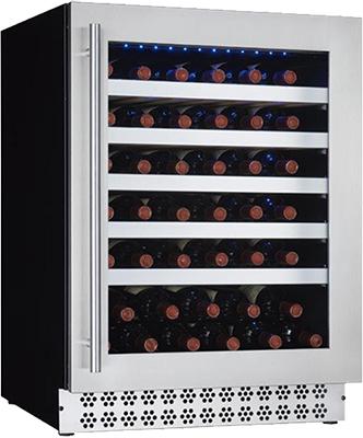 Встраиваемый винный шкаф Cavanova CV 046 T черный серебристая дверца