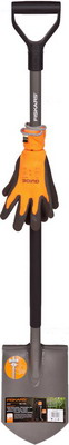 Садовая лопата штыковая + перчатки FISKARS Эргономик 1003460