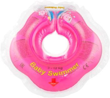 Надувной круг Baby Swimmer розовый (полуцвет) BS 02 P baby swimmer на шею для плавания клубничка красный