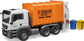 Мусоровоз Bruder MAN TGS (цвет оранжевый) (подходит модуль  звуком  светом ''H'') 03-762