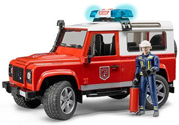 Внедорожник Bruder Land Rover Defender Station Wagon Пожарная с фигуркой 02-596 bruder внедорожник land rover defender