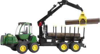 Трактор John Deere 1210E с прицепом с манипулятором и брёвнами Bruder 02-133 машины tomy john deere трактор monster treads с большими колесами и вибрацией