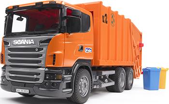 Мусоровоз Bruder Scania (цвет оранжевый) 03-560 машины bruder лесовоз scania с портативным краном и брёвнами