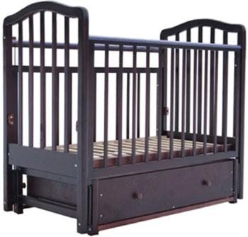 Детская кроватка Лаура 2 маятник продольный ящик махагон
