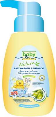 купить Средство для купания и шампунь Babyline с маслом оливы с дозатором 250мл+10мл по цене 162 рублей