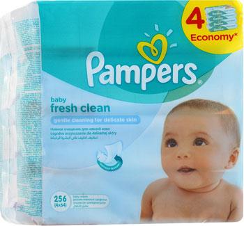 Салфетки детские Pampers Fresh Clean 4х64 шт pampers untuk kucing