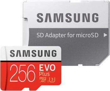 Карта памяти Samsung 256 GB MicroSDXC class 10 UHS-I EVO+ U3 MB-MC 256 GA/RU карта памяти micro sdxc 128gb class 10 samsung evo plus uhs i u3 чтение 100мб c запись 90мб с mb mc128ga ru sd adapter