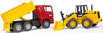 Самосвал Bruder MAN с колёсным бульдозером FR 130 (подходит модуль со звуком и светом ''H'')02-752