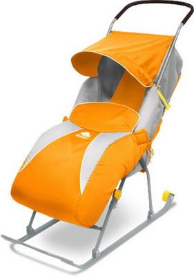 Санки-коляска Nika Kids Т2С детские Тимка 2 Стандарт оранжевый санки мягкие одноместные ср 2