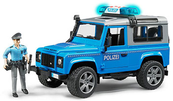 Внедорожник Bruder Land Rover Defender Station Wagon Полицейская с фигуркой 02-597 bruder внедорожник land rover defender