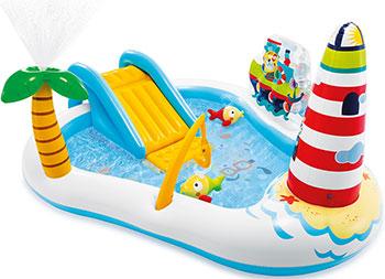 Игровой центр Intex Веселая рыбалка с горкой фонтаном игрушками и мячами 57162 надувной игровой центр intex манеж с погремушкой 130х104см от 0 3 лет 48474