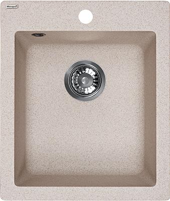 Кухонная мойка Weissgauff QUADRO 420 Eco Granit светло-бежевый  weissgauff quadro 420 eco granit графит