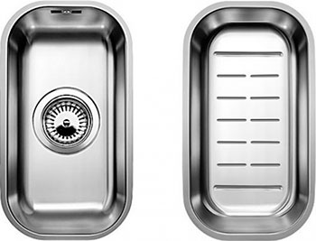 Кухонная мойка BLANCO SUPRA 180-U нерж.сталь полированная с корзинчатым-вентилем с коландером blanco supra 180 u полированная сталь