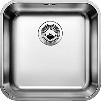 Кухонная мойка BLANCO SUPRA 400-U нерж.сталь полированная с корзинчатым-вентилем  blanco supra 180 u полированная сталь