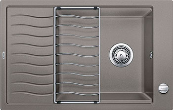 Кухонная мойка BLANCO ELON XL 6S SILGRANIT серый беж с клапаном-автоматом мойка кухонная blanco elon xl 6 s шампань с клапаном автоматом 518741