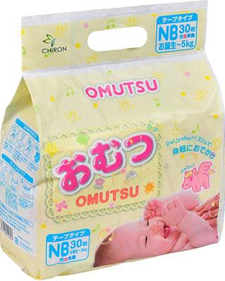 Подгузники OMUTSU NB (до 5 кг) 30 шт.