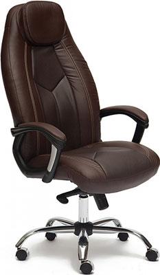 Кресло Tetchair BOSS люкс (хром) (кож/зам коричневый/коричневый перфорированный 36-36/36-36/06) кресло tetchair сн767 кож зам коричневый 36 36
