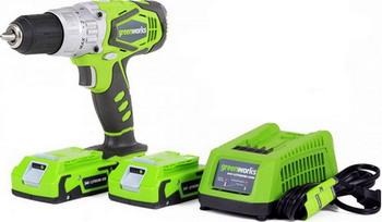 Дрель-шуруповерт Greenworks G 24 DDK2X 3701507 UC аккумуляторная дрель шуруповерт greenworks g24dd 3701507