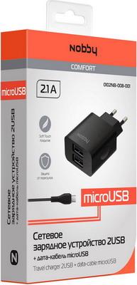 Сетевое зарядное устройство+универсальный DATA кабель Nobby Comfort 0102 NB-008-001 цена и фото