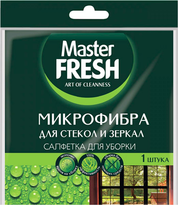Салфетка Master FRESH для стекол и зеркал МИКРОФИБРА 1шт. (30*30см) С0005996