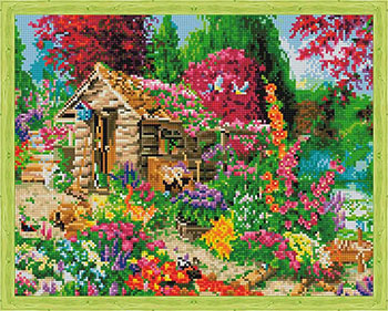 Фото - Алмазная мозаика Цветной ''Сторожка в цветах'' (40х50) на подрамнике qa202788 алмазная мозаика цветной букет нежных цветов 40х50 на подрамнике lg104