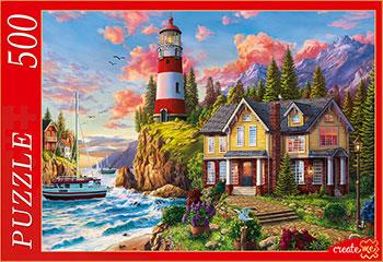 Фото - Пазлы Рыжий кот 500 элементов. МАЯК НА ЗАКАТЕ Ф500-2181 кот в закате