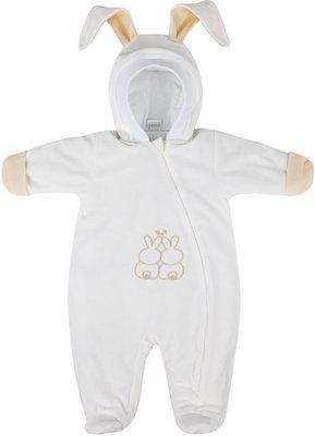 Комбинезон Picollino велюровый Кролик утепленный СК3-КМ002 (в) молочный 74-48(24) комбинезон утепленный для новорожденного boom вариант 2 цвет молочный 90011 bom размер 68 6 месяцев