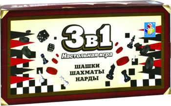 Игра настольная 3в1 1 Toy шашки шахматы нарды магнитные 13 5х7 5х2см Т12057