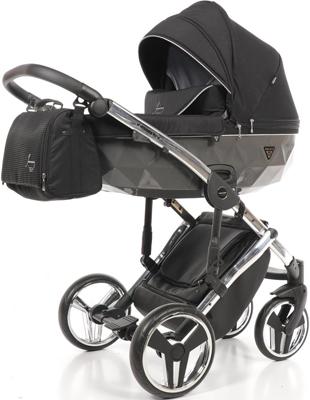 коляски 2 в 1 Коляска детская 2 в 1 Junama DIAMOND SPECIAL JDS-03 (черный/серый короб/рама серебро)