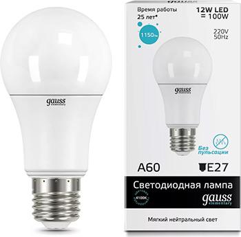 Лампа GAUSS LED Elementary A60 12W E27 1150lm 4100K  упаковка 10шт