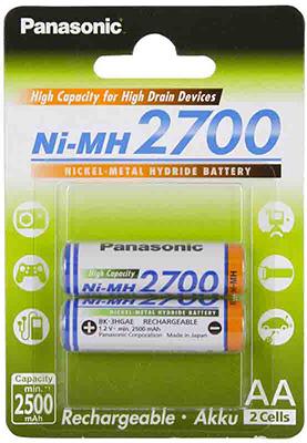Аккумулятор Panasonic типа AA 2700 2BP(BK-3HGAE/2BE)
