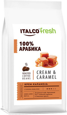 Фото - Кофе зерновой Italco Крем-карамель (Cream & Caramel) ароматизированный 375 г кофе в зернах italco fresh irish cream ирландский крем ароматизированный 375 г