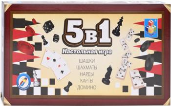 Игра настольная 5в1 1 Toy Шашки/шахматы/нарды/карты/домино на магните 25х13 2х3 5см Т12060