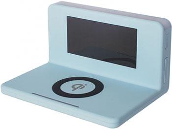 Часы с беспроводной зарядкой MAX M-010 голубые радиоприемник с беспроводной зарядкой max м 010 black
