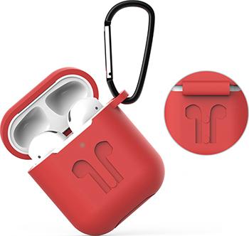 Фото - Чехол Eva для наушников Apple AirPods 1/2 с карабином - Красный (CBAP01R) сифон для душевого поддона unicorn easyopen с латунным выпуском 1 1 2 d40 с отводом g311e
