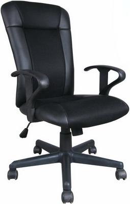 Фото - Кресло Brabix ''Optima MG-370'' с подлокотниками экокожа/ткань черное 531580 кресло brabix stream mg 314 без подлокотников пятилучие серебристое экокожа бежевое 532078